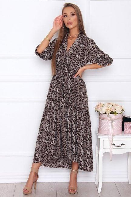 Sukienka asymetryczna w panterkę szara