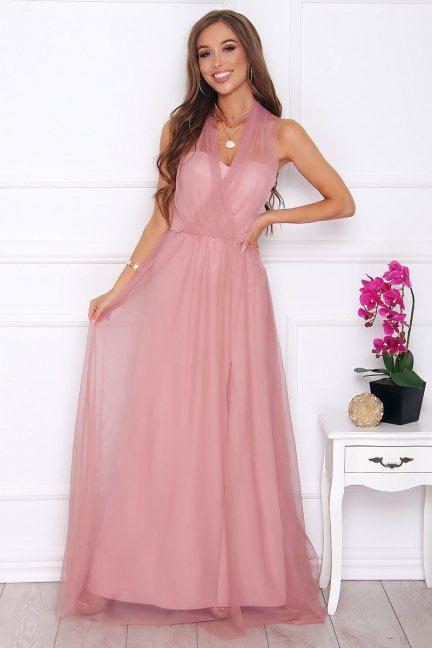 Sukienka elegancka maxi tiulowa brudny róż