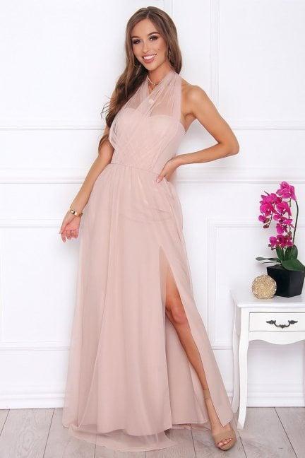 Sukienka elegancka maxi tiulowa beżowa