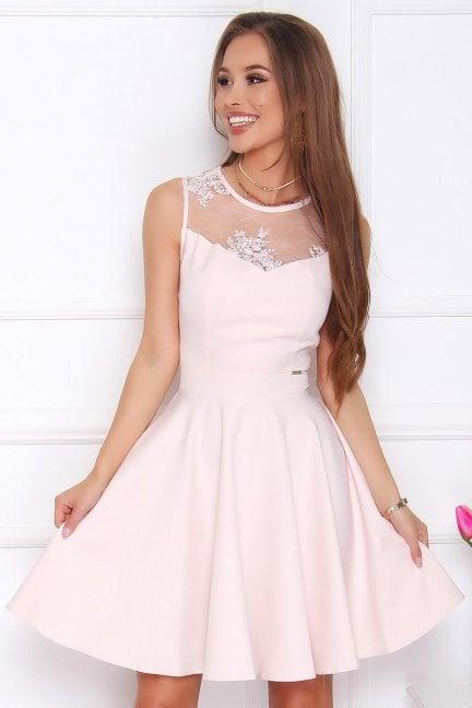 Sukienka rozkloszowana midi pudrowy róż