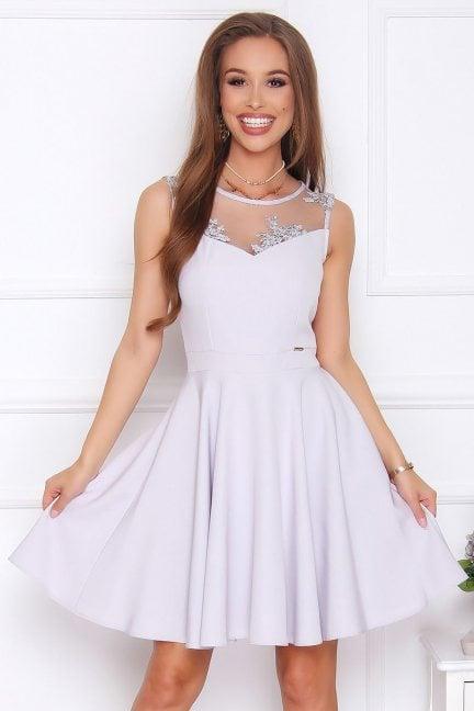 Sukienka rozkloszowana midi szara