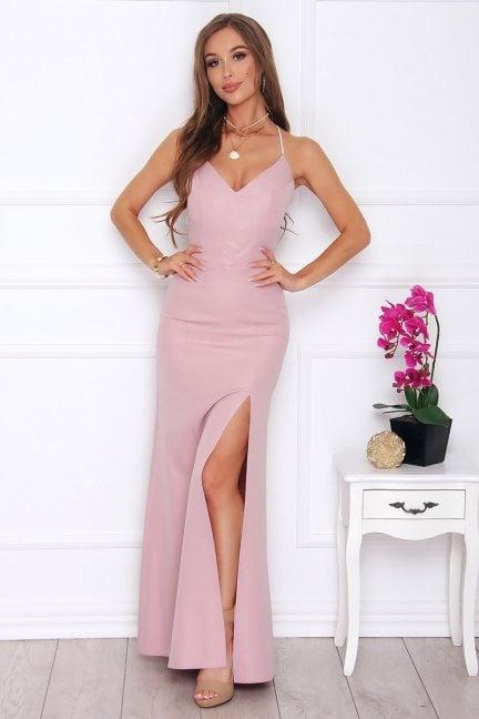 Sukienka damska maxi z dekoltem różowa