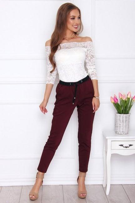 Spodnie damskie z kieszeniami bordowe