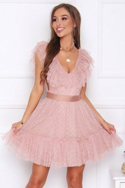 Sukienka szyfonowa mini z falbanką różowa