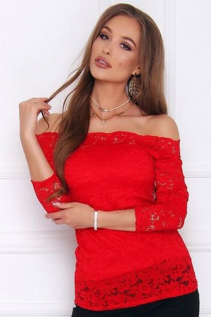 Bluzka damska tunika z koronki czerwona