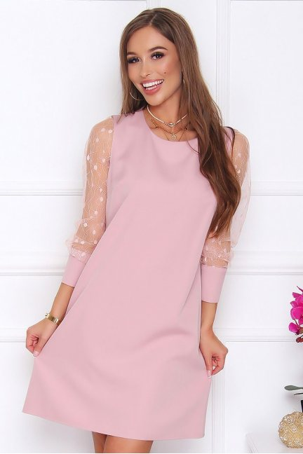 Sukienka trapezowa mini z guzikami różowa