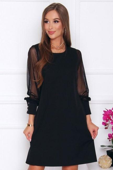 Sukienka wizytowa tiulowe rękawy czarna
