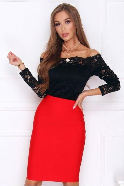 Spódnica elegancka dopasowana czerwona