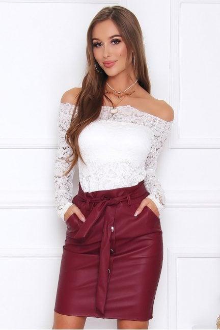 Spódnica skórzana mini z paskiem bordowa