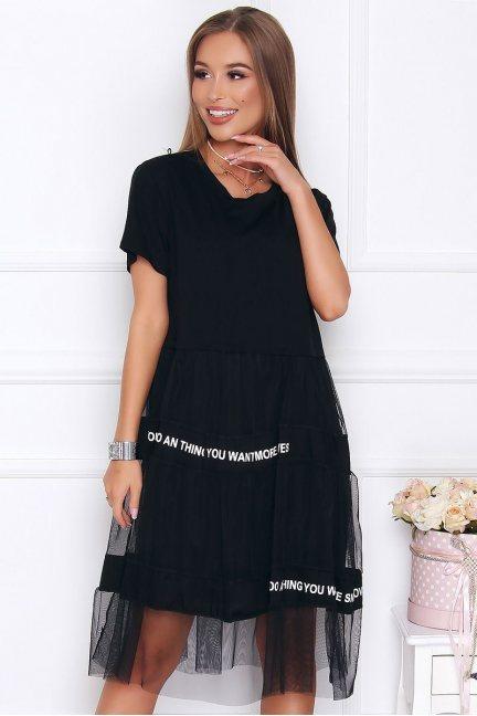 Sukienka damska oversize tiul czarna