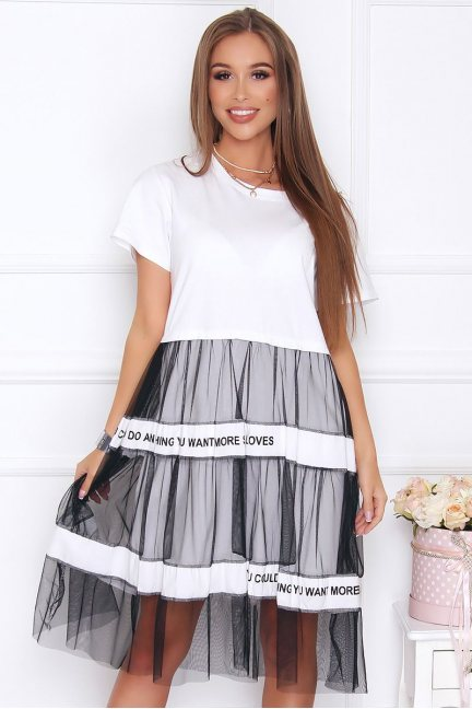Sukienka damska oversize tiul biała