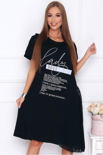 Sukienka bawełniana z napisami czarna