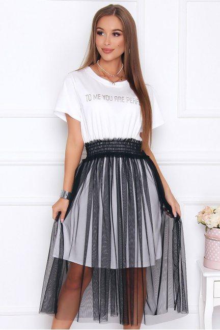 Sukienka damska midi tiulowy dół biała