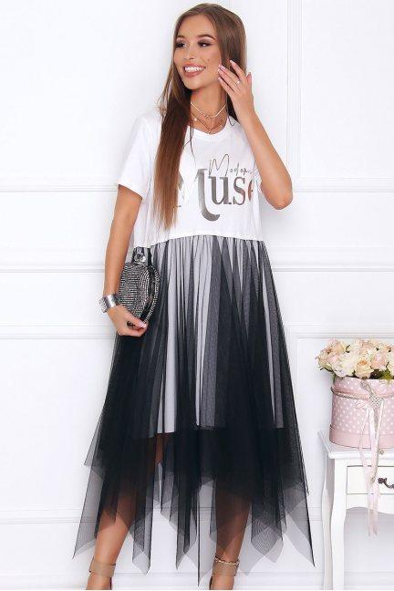 Sukienka modna midi z tiulem biała