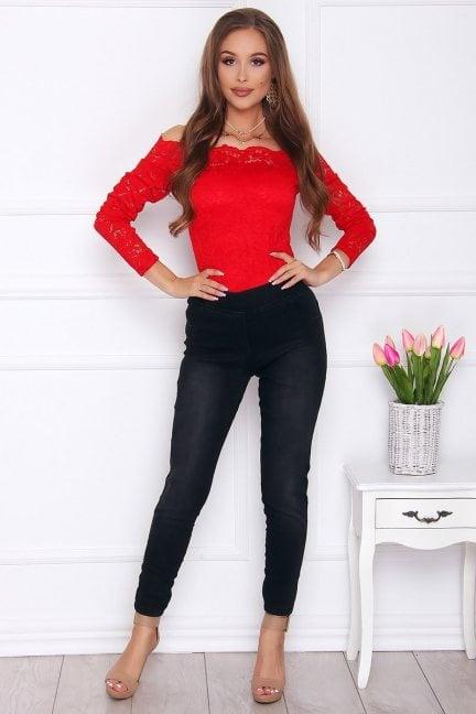 Spodnie modne z kieszeniami czarne