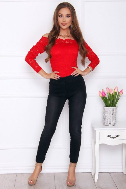 Spodnie damskie jeans z kokardkami czarne