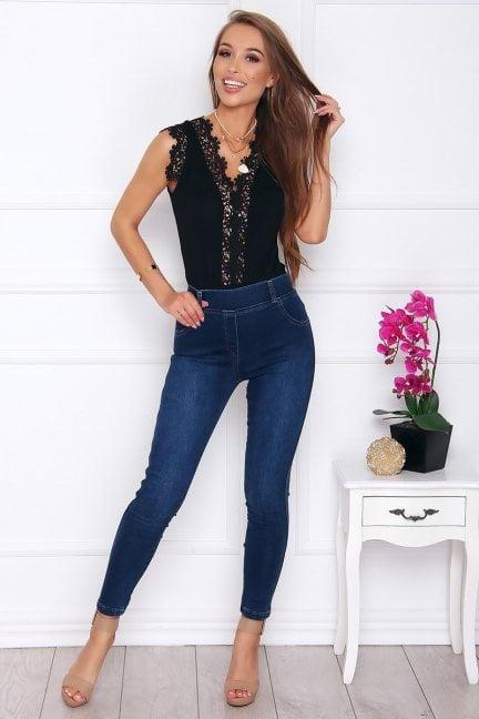 Spodnie damskie jeans z kokardkami ciemne