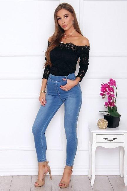 Spodnie damskie jeans z kokardkami jasne