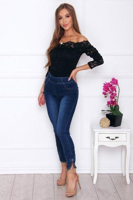 Spodnie damskie jeans z perełkami ciemne