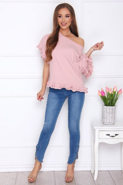 Spodnie damskie jeans z perełkami jasne