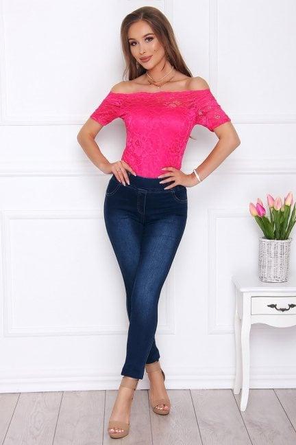 Spodnie damskie jeans modne ciemne