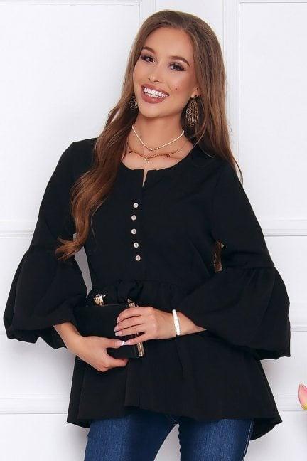 Bluzka elegancka z guzikami czarna