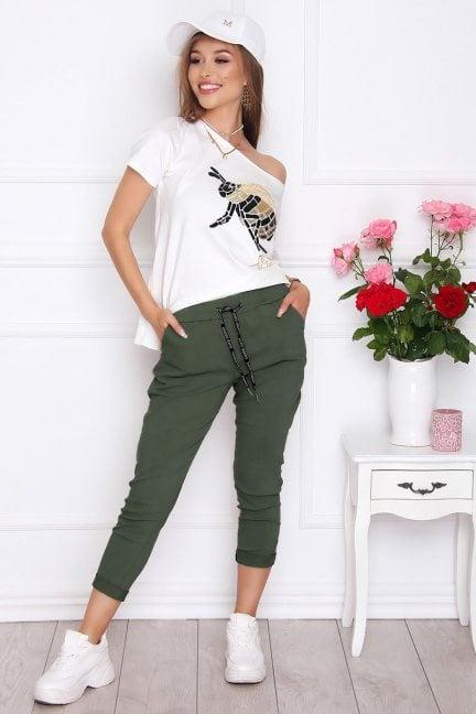 Spodnie damskie cygaretki khaki