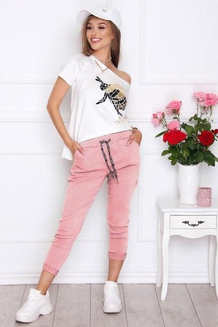 Spodnie damskie cygaretki różowe
