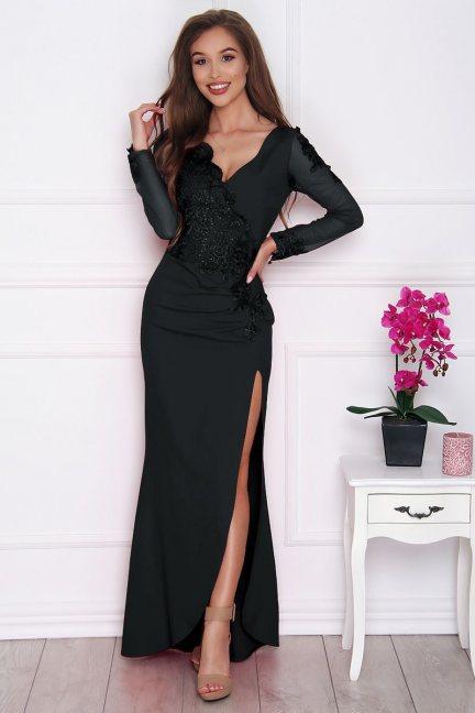 Sukienka wizytowa maxi z rozporkiem czarna