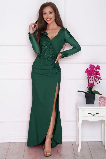 Sukienka wizytowa maxi z rozporkiem zielona