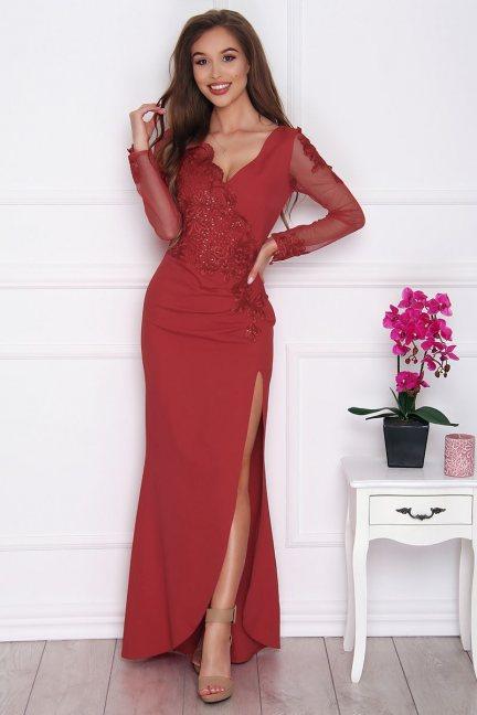 Sukienka wizytowa maxi z rozporkiem bordowa