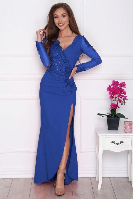 Sukienka wizytowa maxi z rozporkiem chabrowa