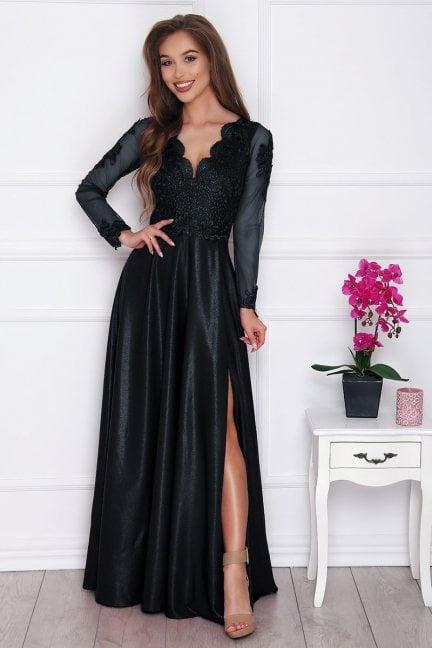 Sukienka elegancka z koronką czarna