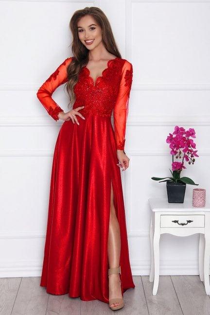 Sukienka elegancka z koronką czerwona