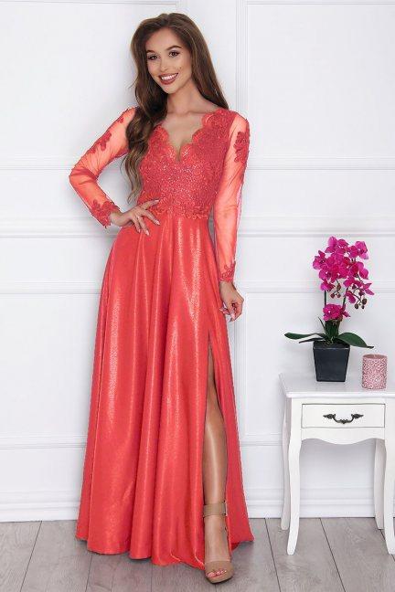 Sukienka elegancka z koronką różowa