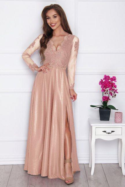 Sukienka elegancka z koronką pudrowy róż