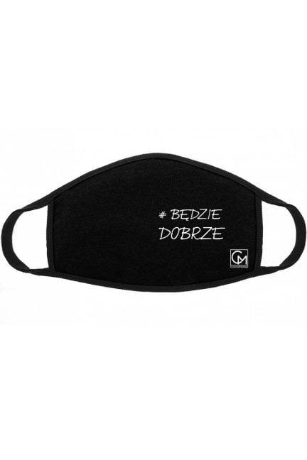 Maska z nadrukiem bawełniana czarna