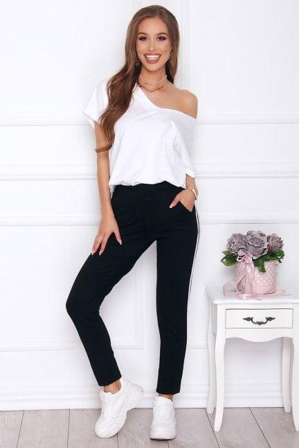 Spodnie dopasowane modne lampas czarne