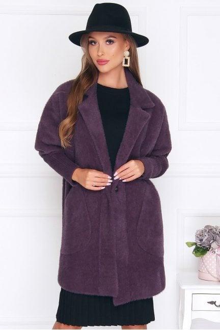 Płaszcz krótki kieszenie alpaka śliwkowy