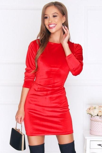 Sukienka dopasowana mini welur czerwona