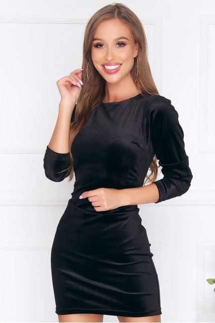 Sukienka dopasowana mini welur czarna