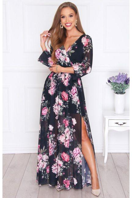Sukienka damska maxi w kwiatki czarna