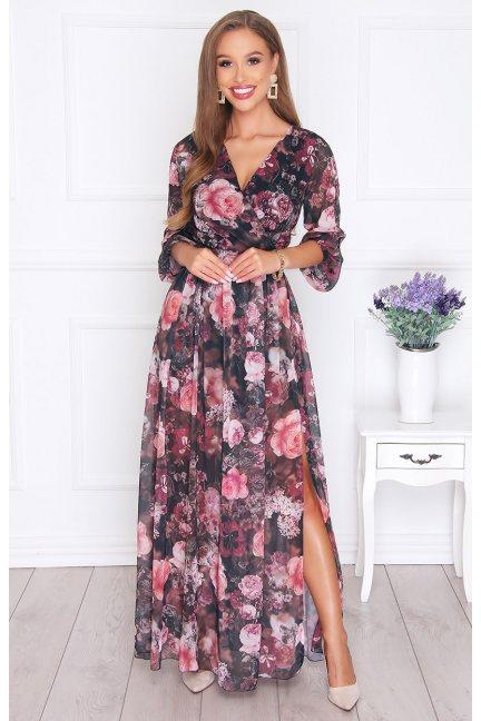 Sukienka damska szyfon w kwiatki czarna