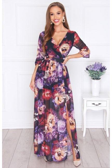 Sukienka modna maxi w kwiatki czarna