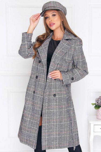 Płaszcz modny damski w kratkę szary