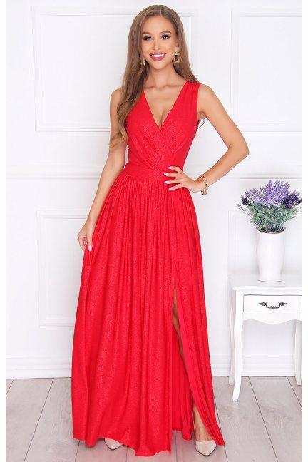 Sukienka elegancka maxi wiązana czerwona
