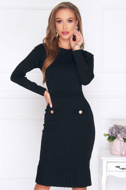 Sukienka ołówkowa z falbanką czarna