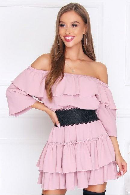 Sukienka wizytowa mini falbanki różowa