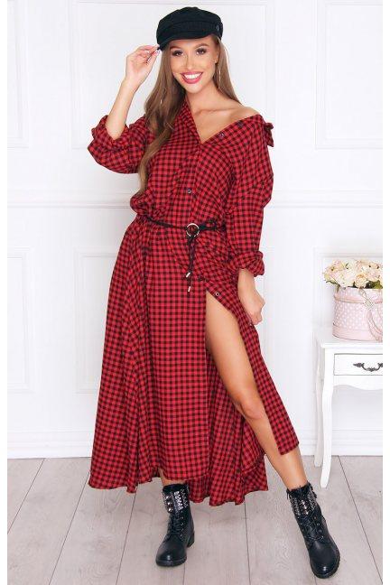 Sukienka koszulowa długa kratka czerwona