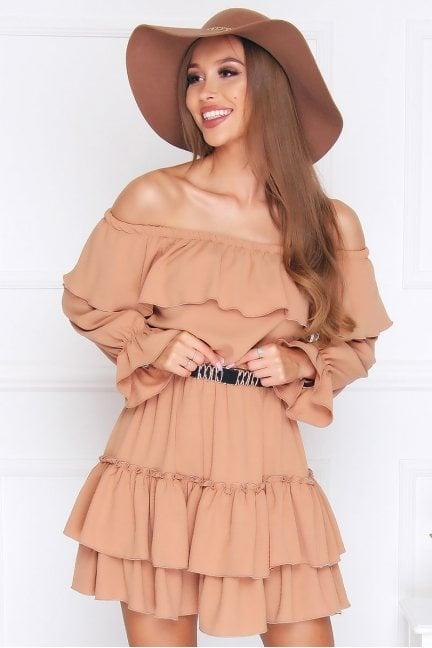 Sukienka wizytowa mini falbanki camel